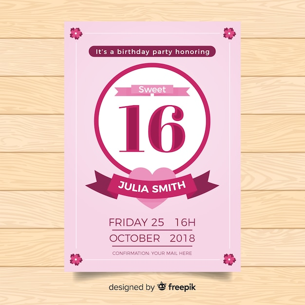 Sweet Sixteen Party Invitation Card Vector