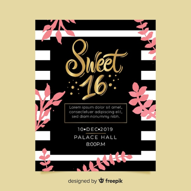 Sweet Sixteen Party Invitation Card Vector Free Download