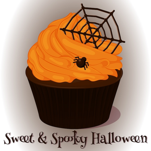 Sweet and spooky cupcake with chocolate web Premium Vector
