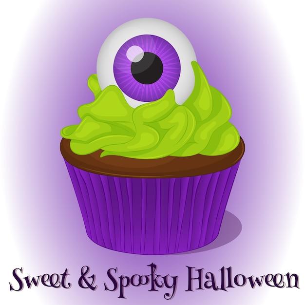 Sweet and spooky cupcake Premium Vector