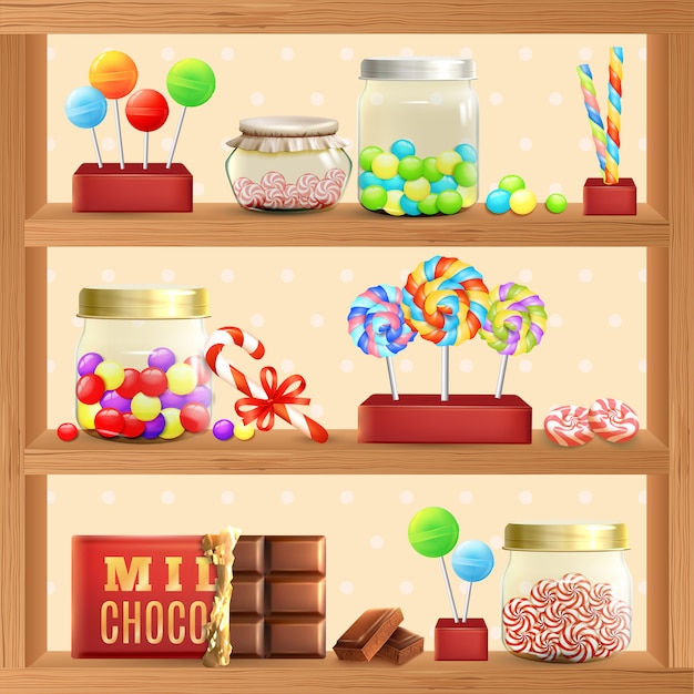 Sweet store shelf Free Vector