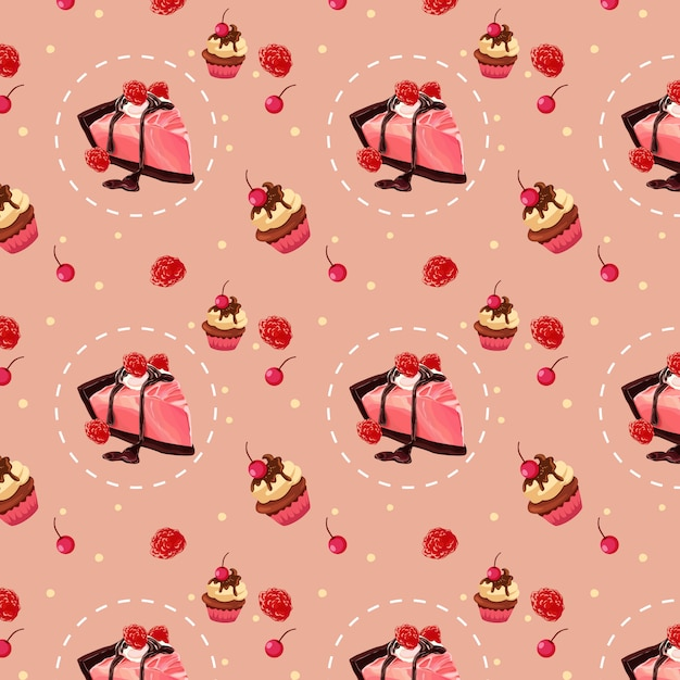 Sweet strawberry cake pattern design Premium Vector