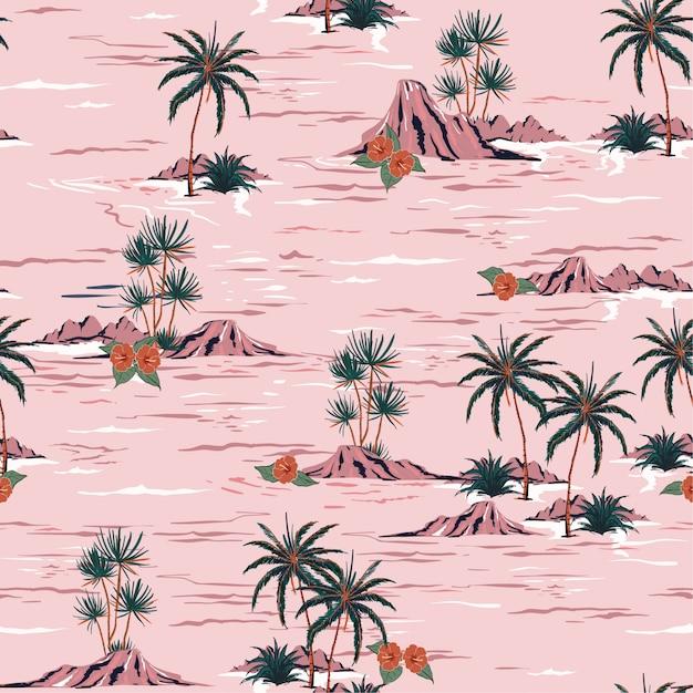 Sweet summer mood seamless island pattern  vector Premium Vector