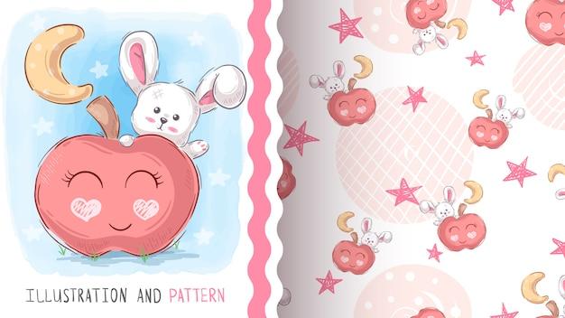 Sweet teddy rabbit - seamless pattern Premium Vector