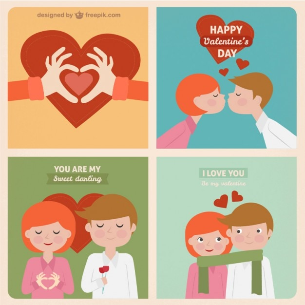 Sweet Valentine Greeting Cards Free Vector