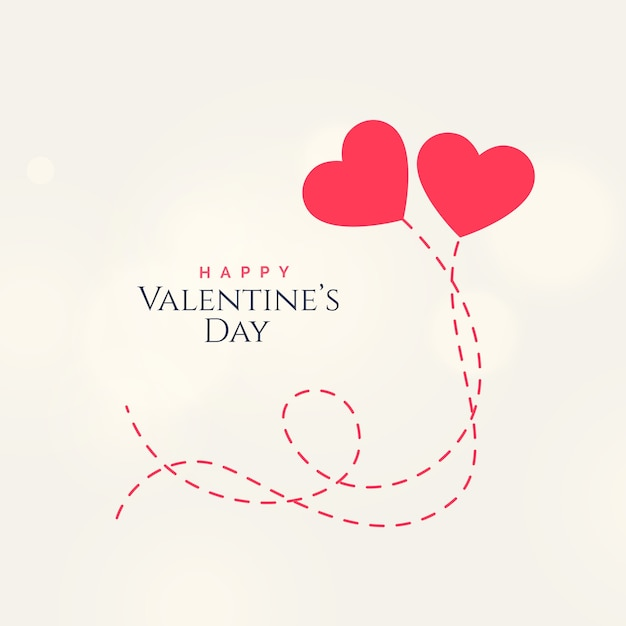 Sweet Valentines Day Card Design With Two Floating Hearts Vector