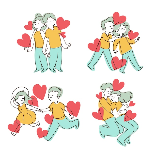 Sweet valentine's day couple collection Free Vector