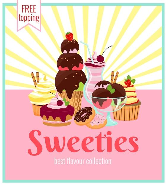 아이스크림 케이크의 다채로운 배열과 과자 복고풍 포스터 디자인 노란색 광선 및 텍스트와 함께 쿠키 도넛과 컵 케이크-sweeties-무료 토핑 무료 벡터