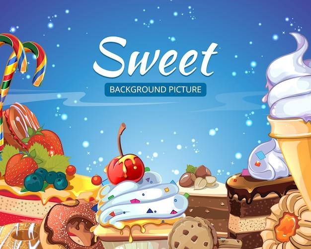 Dolci sfondo astratto caramelle, torte, ciambelle e lecca-lecca. dessert al cioccolato e gelato, gustoso cupcake, illustrazione vettoriale Vettore gratuito