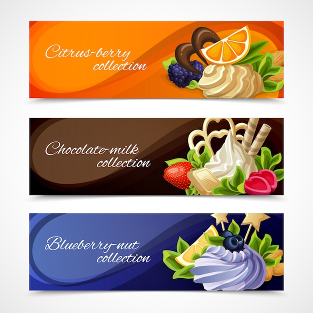 Sweets banners horizontal set Free Vector