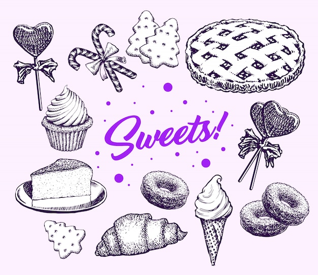 Sweets cakes collection hand drawn elements retro Free Vector