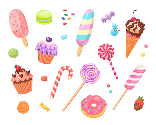 Sweets and cakes flat icon set Free Vector