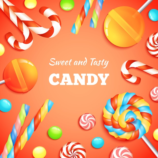 Sweets and candies background Free Vector