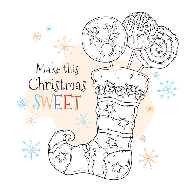 Sweets in a christmas stocking vector. Premium Vector