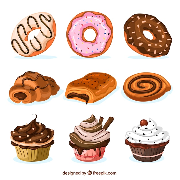 Sweets collection Free Vector