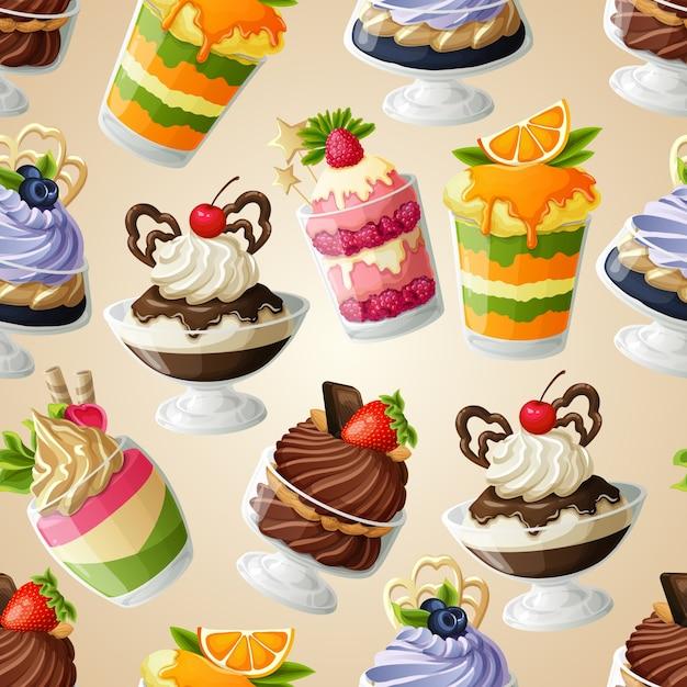 Sweets dessert seamless pattern Premium Vector