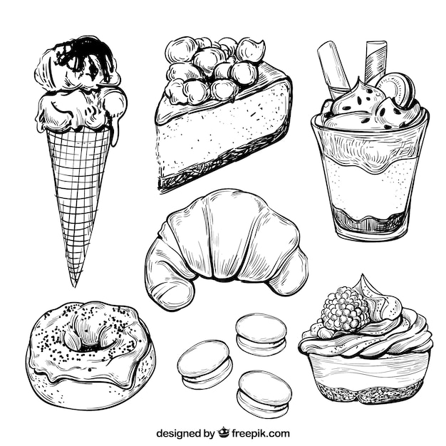 Sweets desserts collection in hand drawn style Free Vector