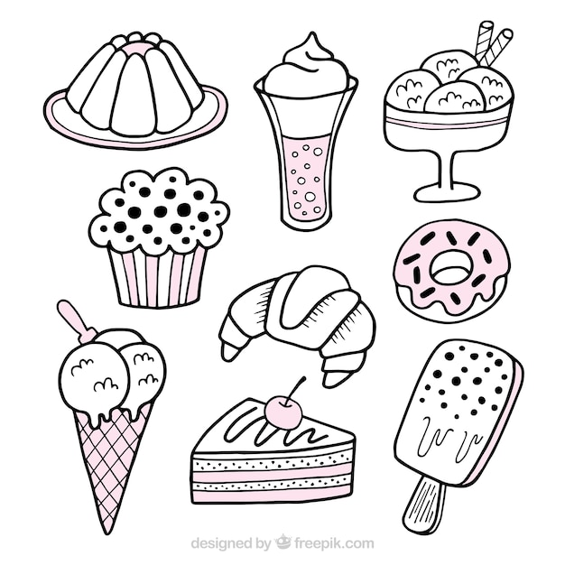 Sweets desserts collection in hand drawn\ style