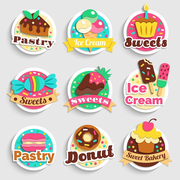 Sweets desserts pastry labels set Free Vector