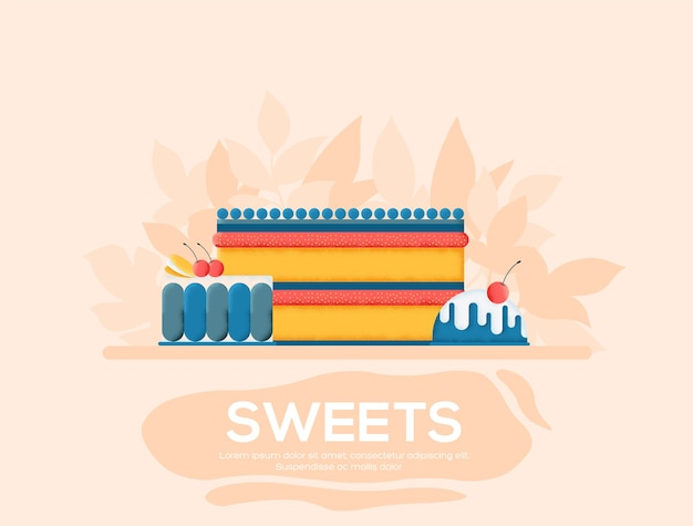 Sweets flyer, magazines, poster, book cover, banners. grain texture and noise effect. Premium Vector