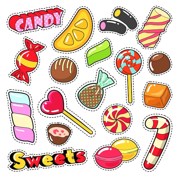 Сладости, еда, конфеты, наклейки, нашивки, значки с леденцом, шоколадными конфетами и желе. векторный рисунок Premium векторы