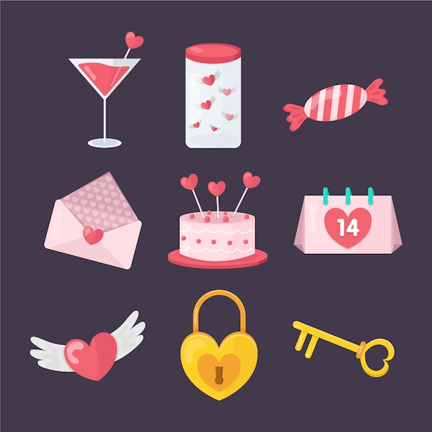 Sweets and gifts flat valentine element collection Free Vector
