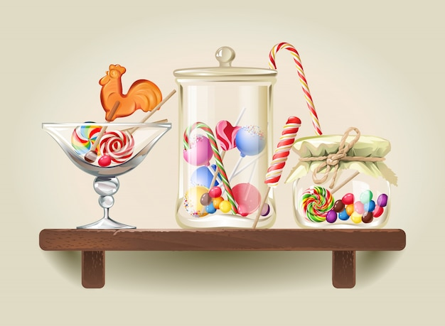 Sweets in glass jars on wooden shelf Free Vector