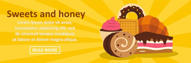 Sweets and honey banner template horizontal concept Premium Vector