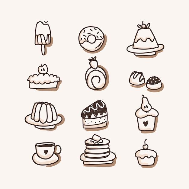 Sweets icon set. hand draw Premium Vector