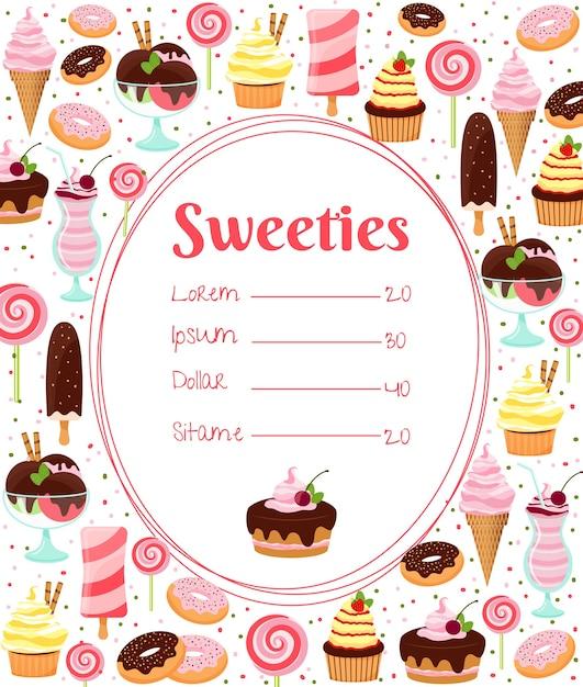 Меню сладостей или прайс-лист в овальной рамке, окруженный красочными значками глазированных мороженым и пирожных со льдом, выпечки, конфет, молочных коктейлей и десертов на белом Бесплатные векторы