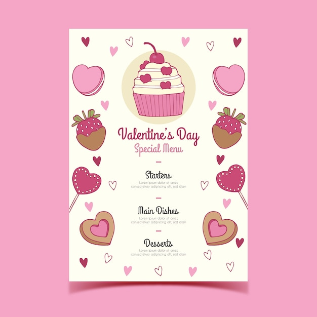 Sweets menu of valentine's day Free Vector