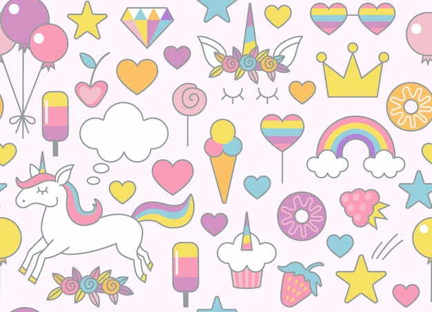 Sweets seamless pattern background Premium Vector
