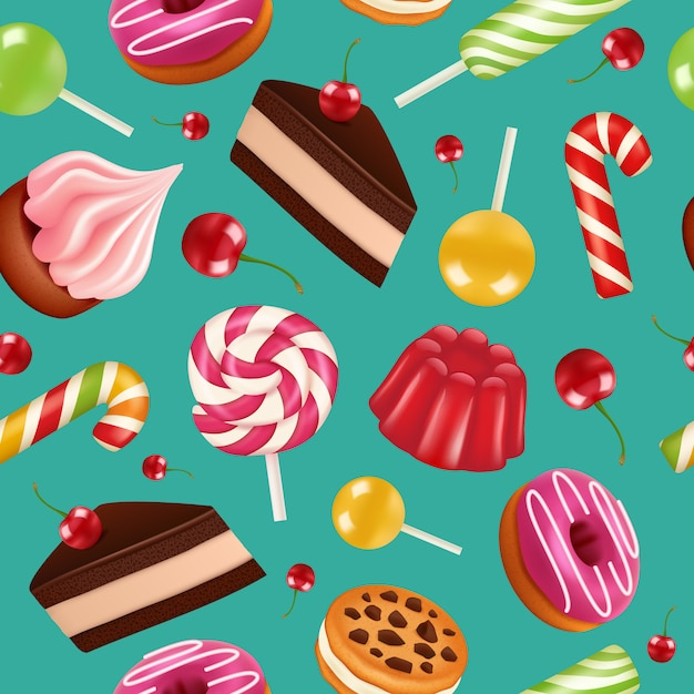 Sweets seamless pattern. candy cupcake holiday lollipops and cream cake with cherry fruits  colorful pattern Premium Vector