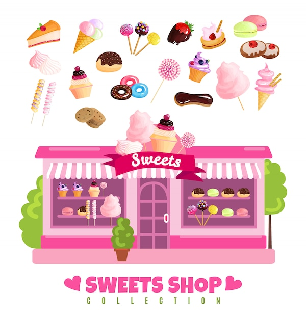 Sweets shop collection of sweets Free Vector