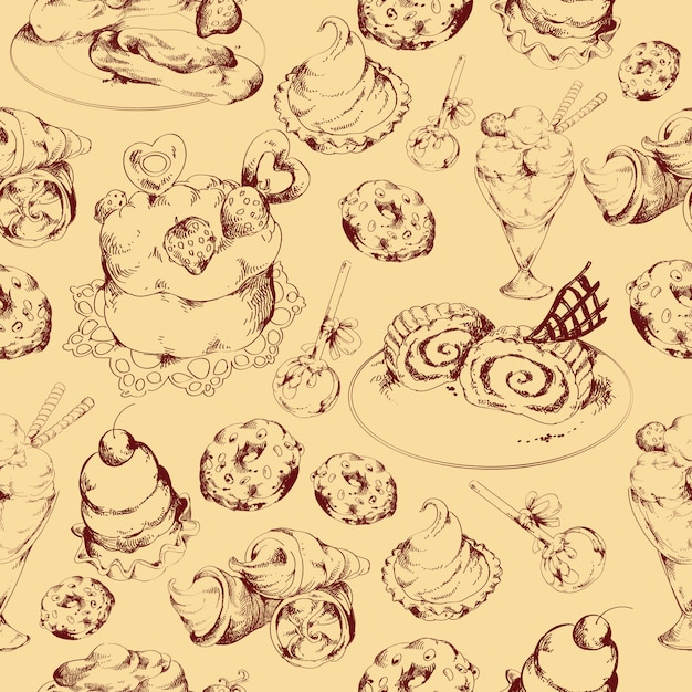 Sweets sketch seamless pattern Free Vector