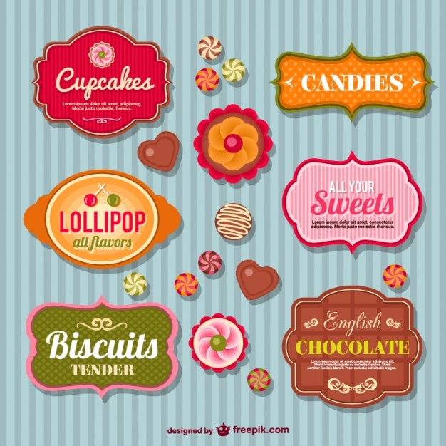 Sweetshop retro badges Vector | Free Download