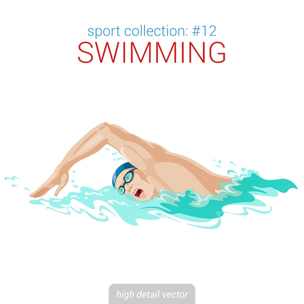 Swimmer man crawl illustration. Premium Vector