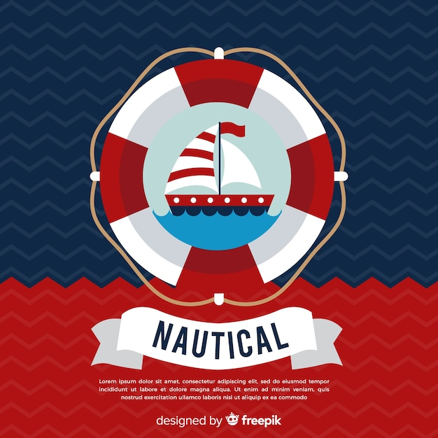 Swimmer nautical background Free Vector