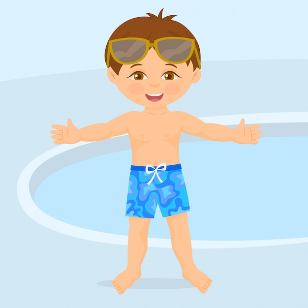 Swimmer next to the pool Premium Vector