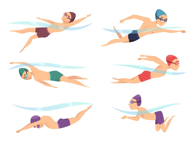 Swimmers at various poses. cartoon sport characters in poll action poses Premium Vector