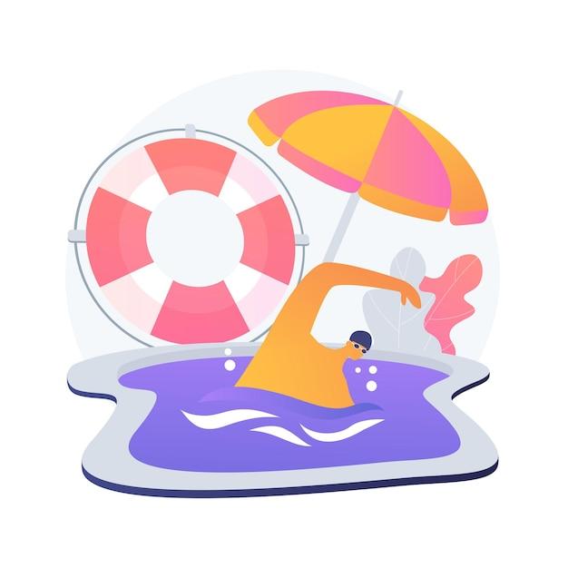 수영 및 인명 구조 수업. 인명 구조 원 훈련, 구조대 코치, 수중 안전 강사. 인명 구조 장비. 구조자 훈련. 무료 벡터