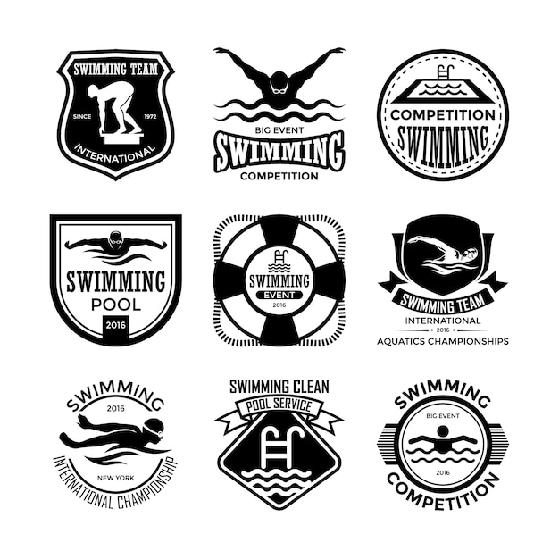 Swimming badges Premium Vector