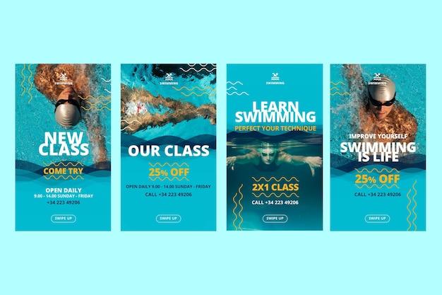 水泳教室のinstagramストーリーテンプレート 無料ベクター