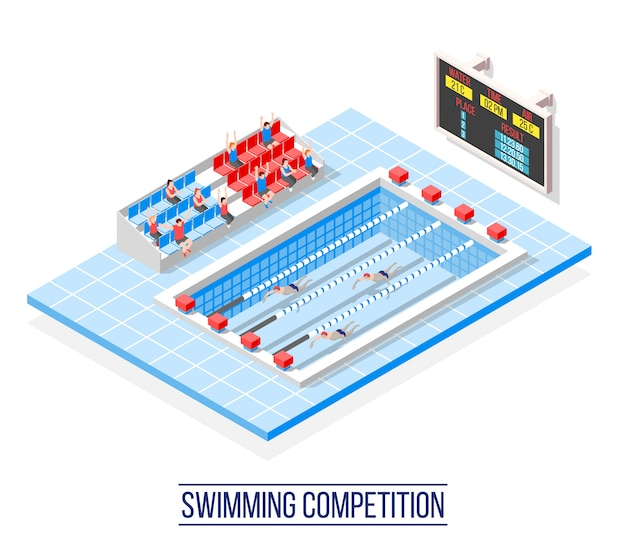 Swimming competition isometric Free Vector
