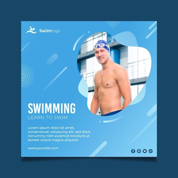 水泳チラシ正方形テンプレート 無料ベクター