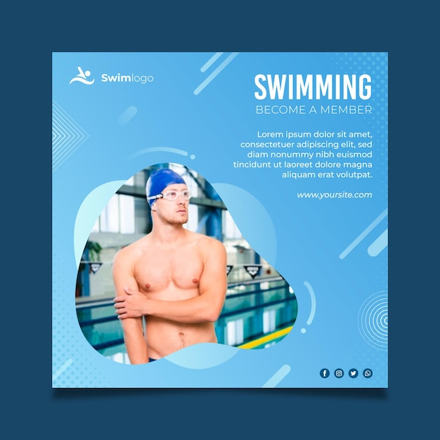 Swimming flyer square template Free Vector