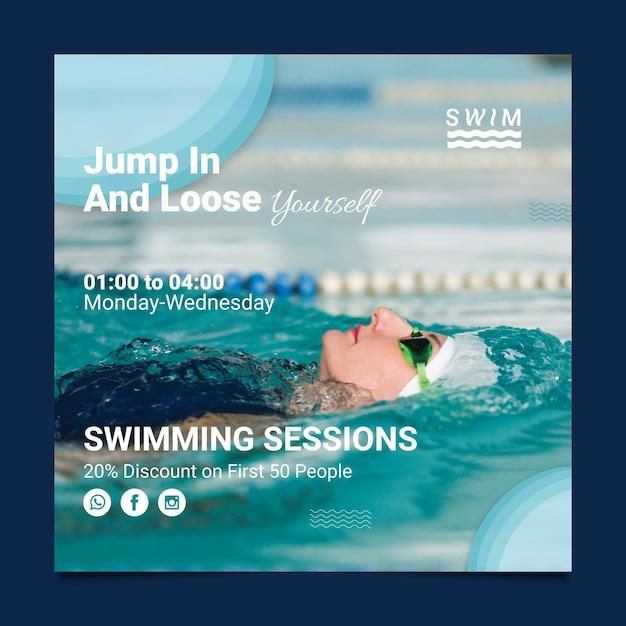 Swimming flyer square Premium Vector