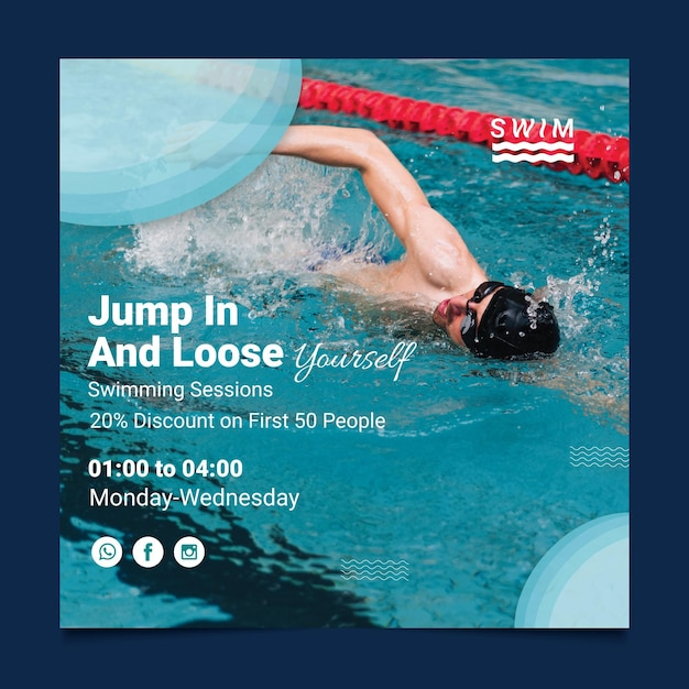 Swimming flyer square Premium Vector
