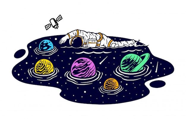 Плавание в космосе иллюстрации Premium векторы