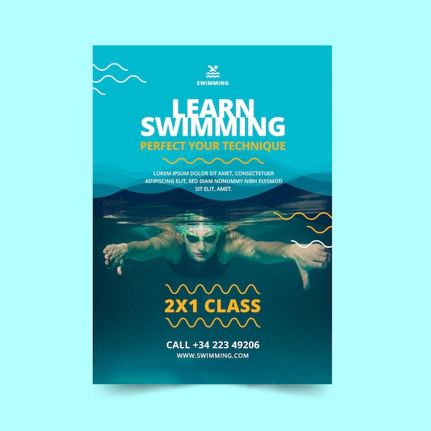Swimming is life classes flyer template Free Vector